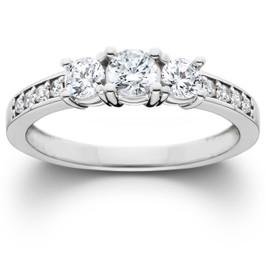 1ct 3-Stone Diamond Engagement Round Brilliant Cut Ring 14K White Gold (H-I, SI)