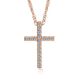 "1/10ct Diamond Cross Pendant 14K Rose Gold 1/2"" Tall (G/H, I1)"