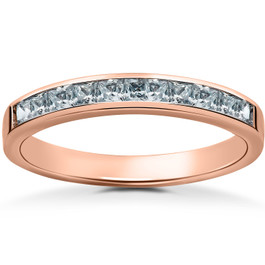 1/2ct Princess Cut Diamond Wedding Ring 14K Rose Gold (G/H, I2)