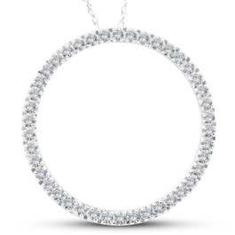 .65CT Circle Of Life Round Diamond Pendant 10K White Gold (H-I, i2-I3)