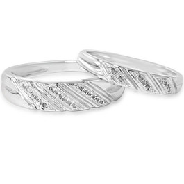 1/4ct His & Hers Diamond Ring Set 10K White Gold (H/I, I1-I2)
