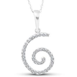 1/10ct Diamond Spiral Pendant 14K White Gold (G/H, I2)