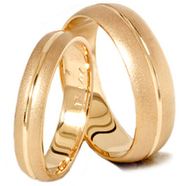 Channel Brushed Wedding Band Set 14K Yellow Gold