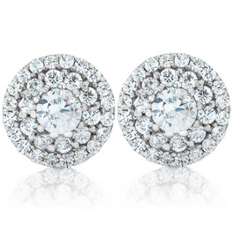 1/2ct TW Double Halo Diamond Studs 14K White Gold (H-I, I1-I2)