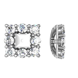 7/8ct Diamond Halo Earring Princess Cut Studs Jackets 14K Fit 1/4ct (2.5-3.5mm) (G-H, I1)