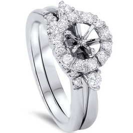 1/2ct Diamond Halo Engagement Setting Set 14K White Gold (G/H, SI1-SI2)