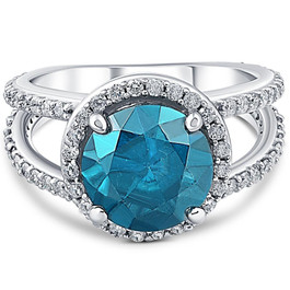 5ct Blue Diamond Engagement Split Shank Halo Ring 14K White Gold (H, I1)