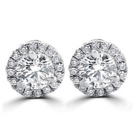1/2ct Round Diamond Halo Studs 18K White Gold (D, VS(1)-VS(2))