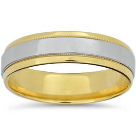 Mens 950 Platinum & 18K Gold Comfort Fit Wedding Band