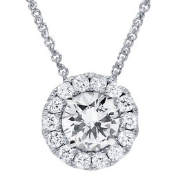 2 1/4ct Halo Diamond Solitaire Pendant 14K White Gold (G/H, I2)