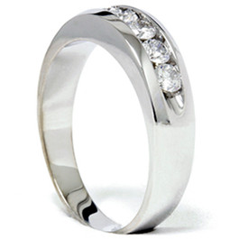 Mens 3/4ct Diamond White Gold Wedding Ring Band New (G/H, I1)
