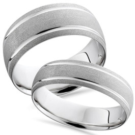 14K White Gold Matching His Hers Brushed Comfort Fit Wedding Band