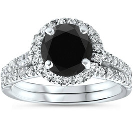 2 1/2 Ct Treated Black Diamond Halo Engagement Wedding Ring Set 14K White Gold (H/I, I1-I2)