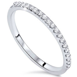 1/8ct White Gold Diamond Anniversary Wedding Guard Ring (G/H, I1)