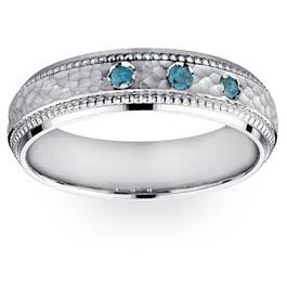 Mens Blue Diamond Hammered 10K White Gold Wedding Band (Blue, I1)