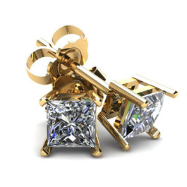 1.00Ct Square Princess Cut Natural Diamond Stud Earrings in 14K Gold Basket Setting (G/H, I2-I3)