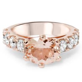 4ct Oval Morganite & Diamond Ring 14K Rose Gold (G/H, I1-I2)