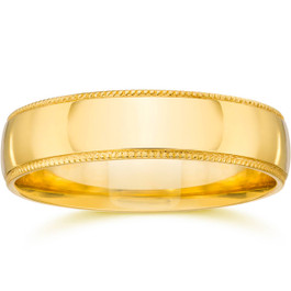 4mm Milgrain Wedding Band 14K Yellow Gold