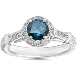 1ct Cathedral Vintage Blue Diamond Engagement Ring 14K White Gold (G/H, I2)