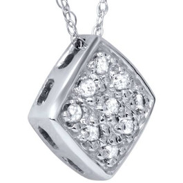 1/5ct Pave Diamond Cluster Pendant 14K White Gold (G/H, I1)