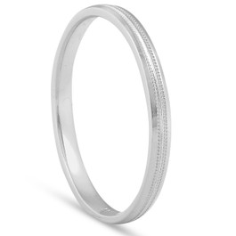 2mm 14K White Gold Milgrain Wedding Band Ring Brand