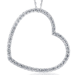 1ct Real Diamond Large Heart Shape Pendant White Gold (I-J, I1-I2)