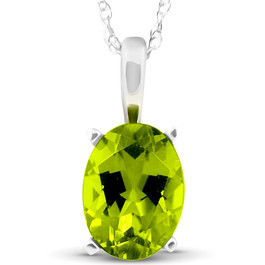 "2ct Oval Shape Peridot Solitaire Pendant 14K White Gold With 18"" Chain"