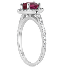 1 1/2ct Pear Shape Ruby & Diamond Halo Ring 14K White Gold (G/H, SI1-SI2)