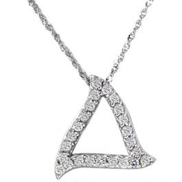 1/4ct Fancy Pave Diamond Curvy 14K White Gold Pendant (G/H, I1)