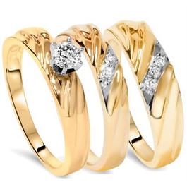 1/3ct Diamond Engagement Trio Wedding Band Set 14K Yellow Gold (G/H