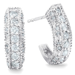 1/2ct Vintage Pave Huggie Hoops Earrings 14K White Gold (G/H, I2)