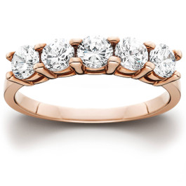 1 cttw 5-Stone Round Cut Diamond Wedding Anniversary Ring 14K Rose Gold (H/I, I1-I2)