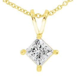 1/2ct Princess Cut Real Diamond Gold Necklace Pendant 14k Yellow Gold (I-J, I2-I3)