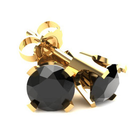 1.00Ct Round Brilliant Cut Heat Treated Black Diamond Stud Earrings in 14K Gold Classic Setting (Black, AAA)