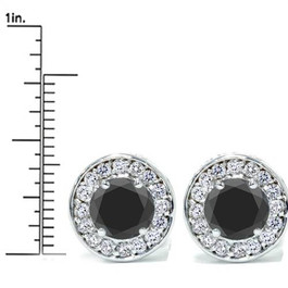 "5/8ct Black & Diamond Round Halo Studs 14K White Gold 1/3"" (G-H, I2)"