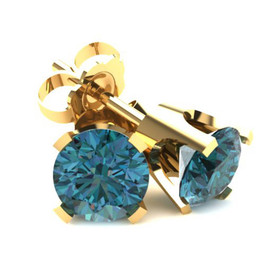 2.00Ct Round Brilliant Cut Heat Treated Blue Diamond Stud Earrings in 14K Gold Classic Setting (Blue, SI2-I1)