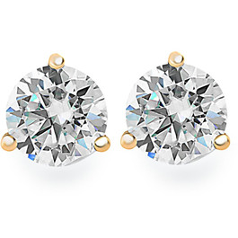 .33Ct Round Brilliant Cut Natural Diamond Stud Earrings in 14K Gold Martini Setting (G/H, I2-I3)