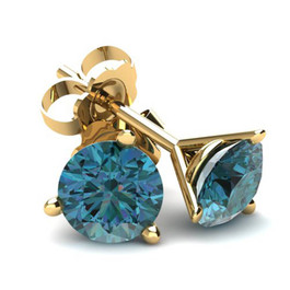 2.00Ct Round Brilliant Cut Heat Treated Blue Diamond Stud Earrings in 14K Gold Martini Setting (Blue, SI2-I1)