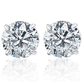 .75Ct Round Brilliant Cut Natural Quality VS2-SI1 Diamond Stud Earrings in 14K Gold Basket Setting (G/H, VS2-SI1)