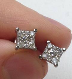 1/2ct Princess Cut Diamond Cluster Studs 14K White Gold (G/H, SI2-SI3)