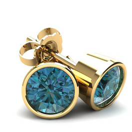 .75Ct Round Brilliant Cut Heat Treated Blue Diamond Stud Earrings in 14K Gold Round Bezel Setting (Blue, SI2-I1)