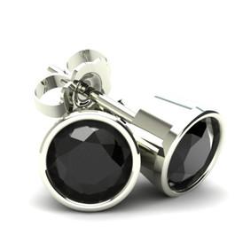 .33Ct Round Brilliant Cut Heat Treated Black Diamond Stud Earrings in 14K Gold Round Bezel Setting (Black, AAA)