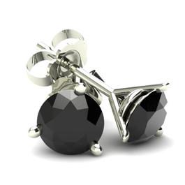 .75Ct Round Brilliant Cut Heat Treated Black Diamond Stud Earrings in 14K Gold Martini Setting (Black, AAA)