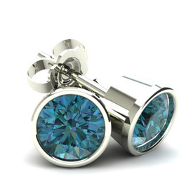 2.00Ct Round Brilliant Cut Heat Treated Blue Diamond Stud Earrings in 14K Gold Round Bezel Setting (Blue, SI2-I1)