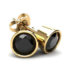 2.00Ct Round Brilliant Cut Heat Treated Black Diamond Stud Earrings in 14K Gold Round Bezel Setting (Black, AAA)