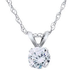 VS 3/8ct Diamond Solitaire Pendant 14K White Gold (F, VS)