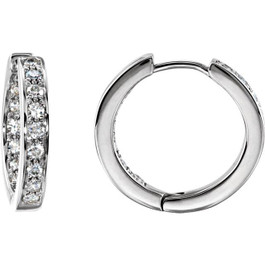3/4 CT Diamond Inside Outside Hoops 14K White Gold (G/H, SI)