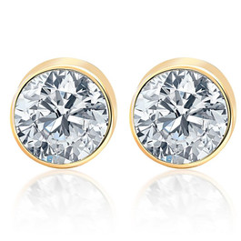 .85Ct Round Brilliant Cut Natural Quality SI1-SI2 Diamond Stud Earrings in 14K Gold Round Bezel Setting (G/H, SI1-SI2)