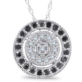1/3ct Black & White Diamond Fancy Circle Pave Pendant (G/H, I2)