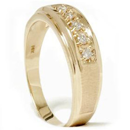 Mens 1/6ct 14K Yellow Gold Diamond Wedding Ring Band (G/H, I2)